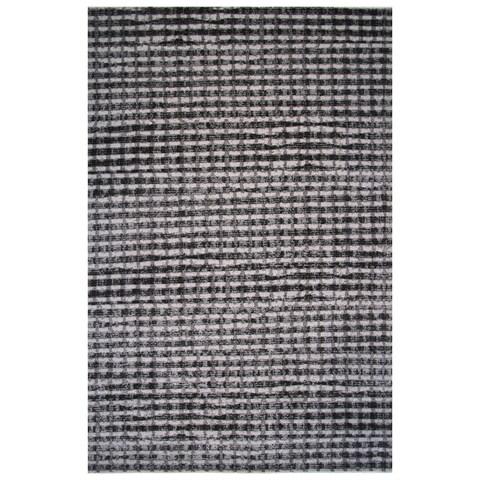 Aquarelle Collection Black and Gray Modern Checker Area Rug,