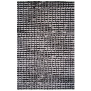 Aquarelle Collection Black and Gray Modern Checker Area Rug, 2 ft. x 8 ft.