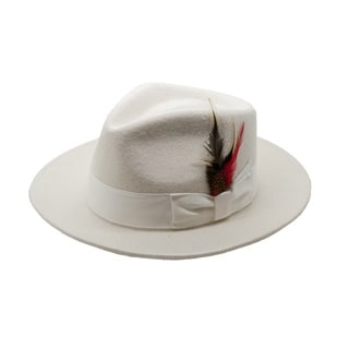 Ferrecci Premium Wool Fully Lined White Fedora Hat