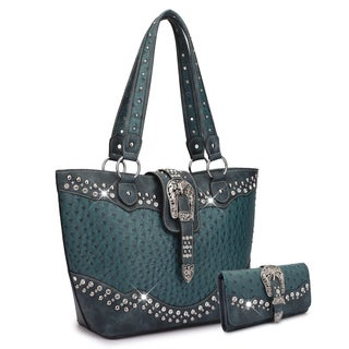 Dasein Western Style Embossed Ostrich Rhinestone Buckle Tote Bag with Wallet