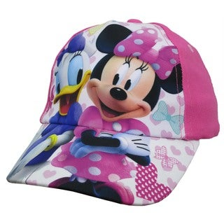 Disney Toddler Girls' Minnie Mouse and Daisy Duck Pink Cotton Baseball Cap