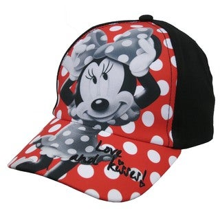 Disney Girl's Red/Black/White Cotton Polka Dot Minnie Mouse Baseball Cap (Sizes 4 to 14)