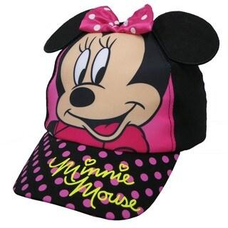 Minnie Mouse Toddler Girls Black Cotton Polka Dot Baseball Cap