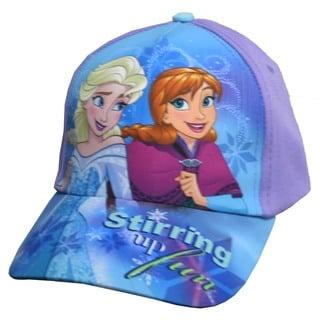 Disney Girls' Frozen Anna Elsa Purple Cotton Baseball Cap