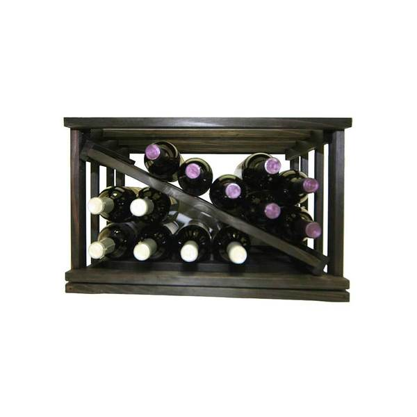 Mini-Stack Series Midnight Black Stain Open Diamond Stackable Wine Rack