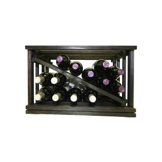 Mini-Stack Series Midnight Black Stain Open Diamond Stackable Wine Rack