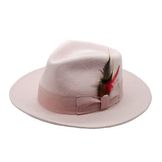 Ferrecci Men's Light Pink Premium Wool Fully Lined Fedora Hat