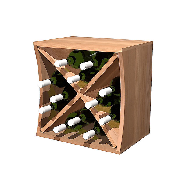 Rustic Pine with Diamond Insert Concave Curvy Wine Cube
