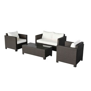 Oliver & James Sol Dark Brown Wicker Outdoor Couch and Chair Set