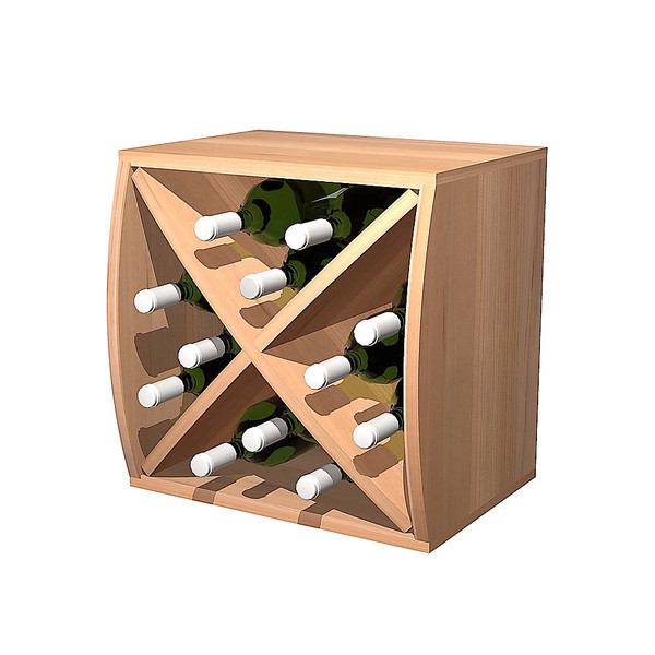 Convex Rustic Pine Curvy Wine Cube with Diamond Insert
