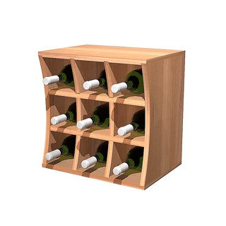 Wine Cellar Innovations Concave Curvy Wine Cube Rustic Pine Wood Wine Holder