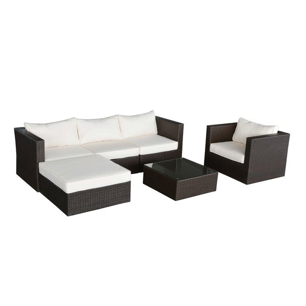Havenside Home Caladesi Dark Brown Wicker Outdoor Couch And Ottoman Set