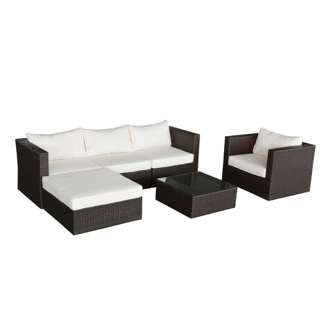 Oliver & James Sol Dark Brown Wicker Outdoor Couch and Ottoman Set