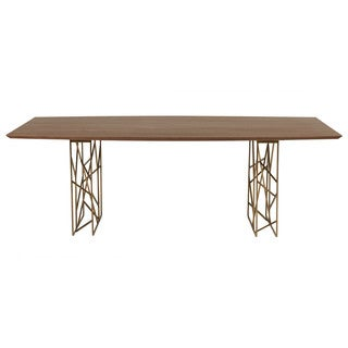 Cipriano Dark Walnut Boat-shaped Dining Table