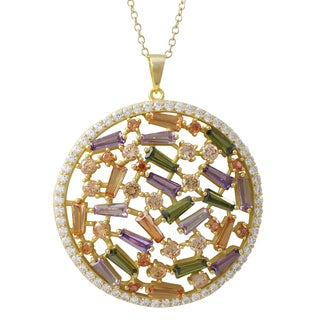 Luxiro Gold Finish Sterling Silver Baguette Cubic Zirconia Large Circle Pendant Necklace - Red