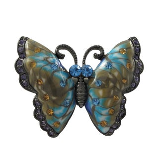 Luxiro Black Finish Aqua Blue and Brown Crystals Butterfly Pin Brooch