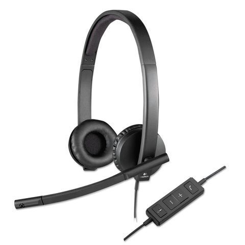 Logitech USB H570e Over-the-Head Wired Headset Binaural Black
