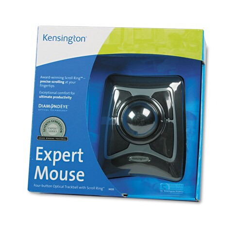 Kensington Expert Mouse Wired Trackball Scroll Ring Black/Silver