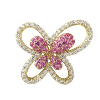 Luxiro Gold Finish Sterling Silver Lab-created Ruby and Cubic Zirconia Butterfly Brooch Pin