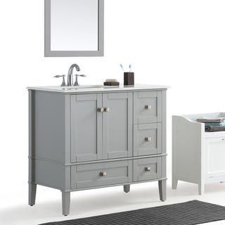 WYNDENHALL Windham Grey 36-inch Offset Bath Vanity with White Quartz Marble Top
