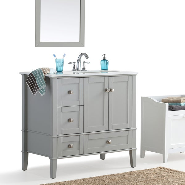 WYNDENHALL Windham Grey 36 Inch Offset Bath Vanity With White Quartz Marble  Top   Free Shipping Today   Overstock.com   20608242