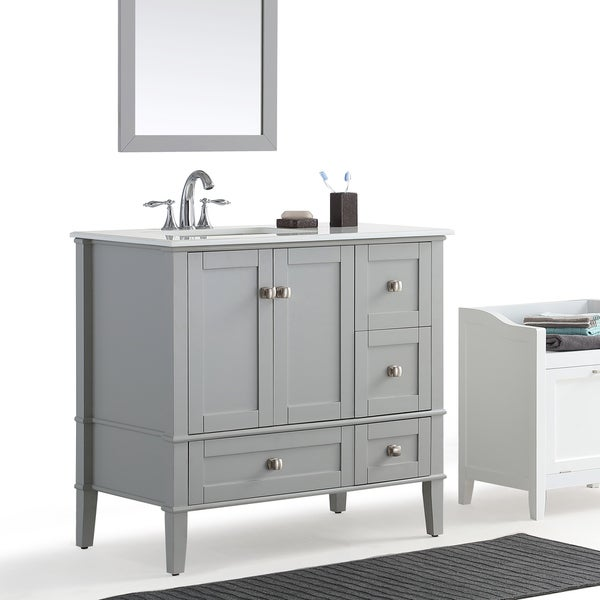 Wyndenhall Windham Grey 36 Inch Offset Bath Vanity With White Quartz Marble Top Free Shipping
