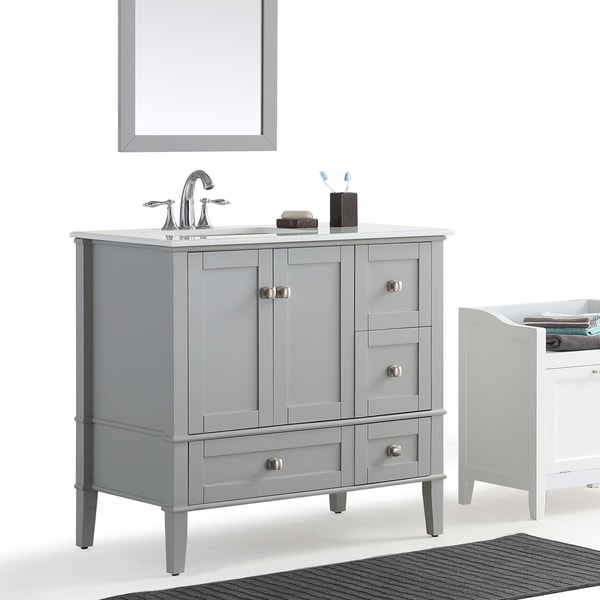 36 inch left offset bath vanity in grey with white quartz marble top
