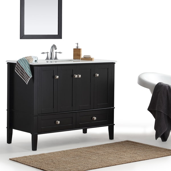 WYNDENHALL Windham Black 42 Inch Bath Vanity With White Top