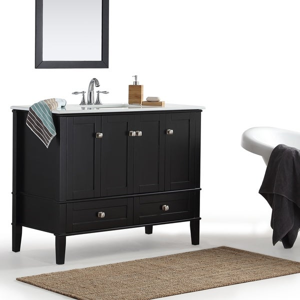 WYNDENHALL Windham 42 inch Contemporary Bath Vanity in Black with White Engineered Quartz Marble Top