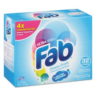 Fab 2X Powdered Laundry Detergent Ocean Breeze 2.1-pound Box 4/Carton