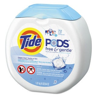 Tide Free and Gentle Laundry Detergent Pods 72/Pack 4/Carton