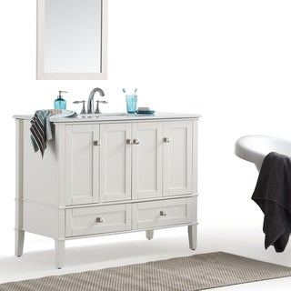WYNDENHALL Windham Soft White 42-inch Bath Vanity with White Top