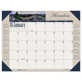 House of Doolittle Recycled Motivational Photographic Monthly Desk Pad Calendar, 22 x 17, 2019