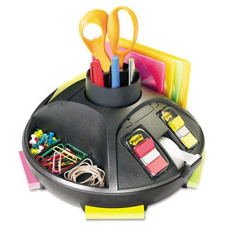 3M Rotary Self-Stick Notes Dispenser Plastic Rotary 10-inch diameter x 7-inch high Black