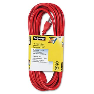 Fellowes Indoor/Outdoor Heavy-Duty 3-Prong Plug Extension Cord 1-Outlet 25ft Orange