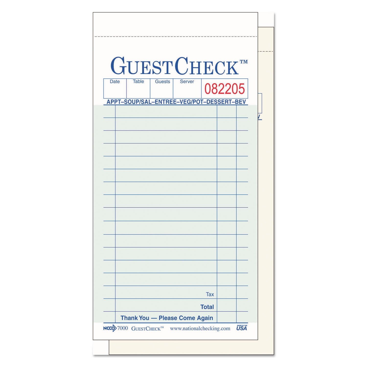 National Checking Company Two-Part Carbonless GuestCheck ...