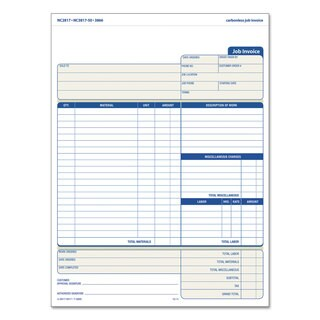 TOPS Snap-Off Job Invoice Form 8 1/2 x 11 5/8 Three-Part Carbonless 50 Forms