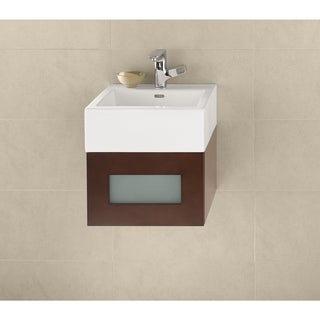 Ronbow Rebecca Dark Cherry 18-inch Wall Mount Bathroom Vanity Set with White Ceramic Vessel Bathroom Sink