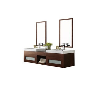 Ronbow Rebecca 61-inch Wall Mount Bathroom Double Vanity Set in Dark Cherry