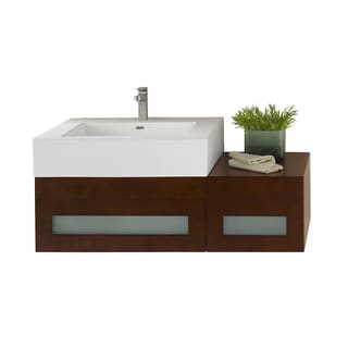 Ronbow Rebecca 31-inch Wall Mount Bathroom Vanity Set in Dark Cherry, Ceramic Bathroom Sink Top in White