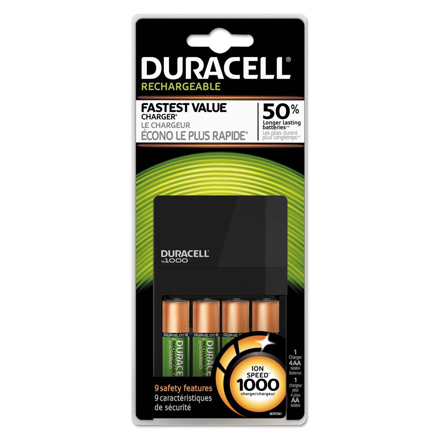 Duracell ION Speed 1000 Advanced Charger Includes 4 AA Ni...