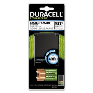 Duracell ION SPEED 4000 Hi-Performance Charger Includes 2 AA and 2 AAA NiMH Batteries