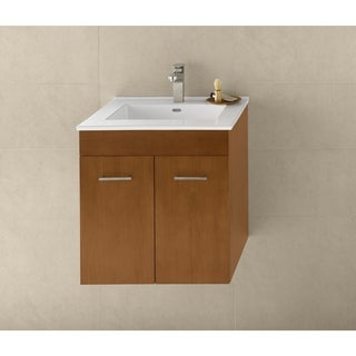 Ronbow Bella 23-inch Wall Mount Bathroom Vanity Set in Cinnamon, Ceramic Bathroom Sink Top in White