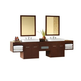 Ronbow Bella 94-inch Wall Mount Bathroom Double Vanity Set in Dark Cherry