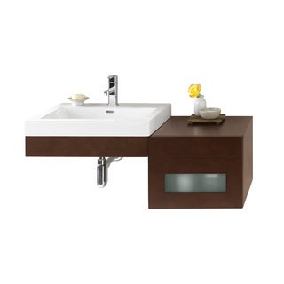 Ronbow Adina 41-inch Wall Mount Bathroom Vanity Set in Dark Cherry, Ceramic Bathroom Sink Top in White
