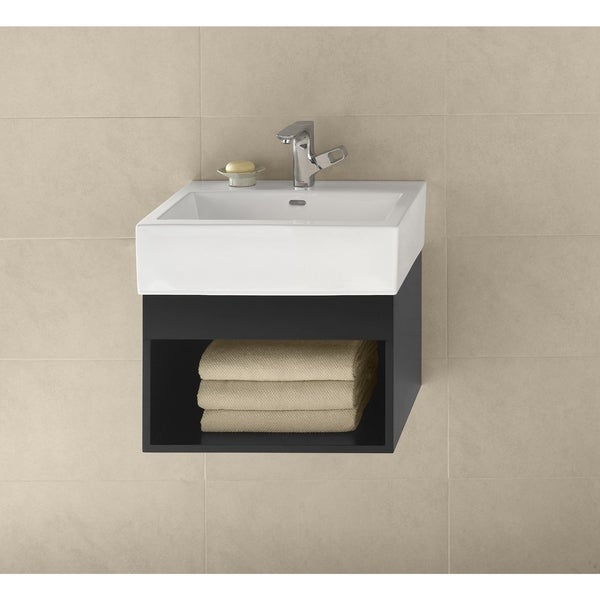 """Ronbow Catalina Black 22"""" Wall Mount Bathroom Vanity Set with White Ceramic Vessel Sink"""