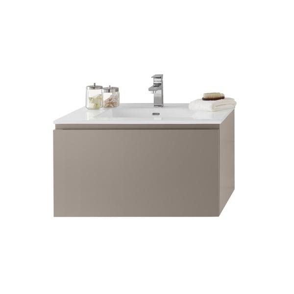 shop ronbow ariella 31 inch wall mount bathroom vanity set in blush taupe ceramic bathroom sink. Black Bedroom Furniture Sets. Home Design Ideas