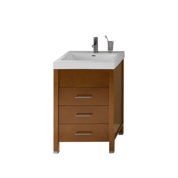 Ronbow Kali 23-inch Bathroom Vanity Set in Cinnamon with Ceramic Bathroom Sink Top in White
