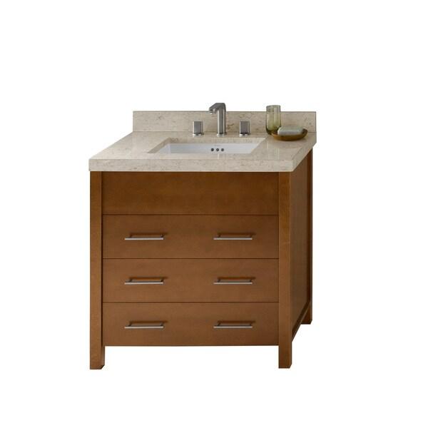 Shop Ronbow Kali 31 Inch Bathroom Vanity Set In Cinnamon Marble Countertop And Backsplash With