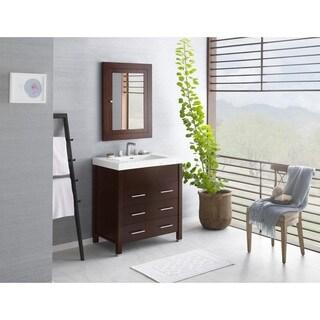 Ronbow Kali 31-inch Bathroom Vanity Set in Dark Cherry with Medicine Cabinet, Ceramic Bathroom Sink Top in White